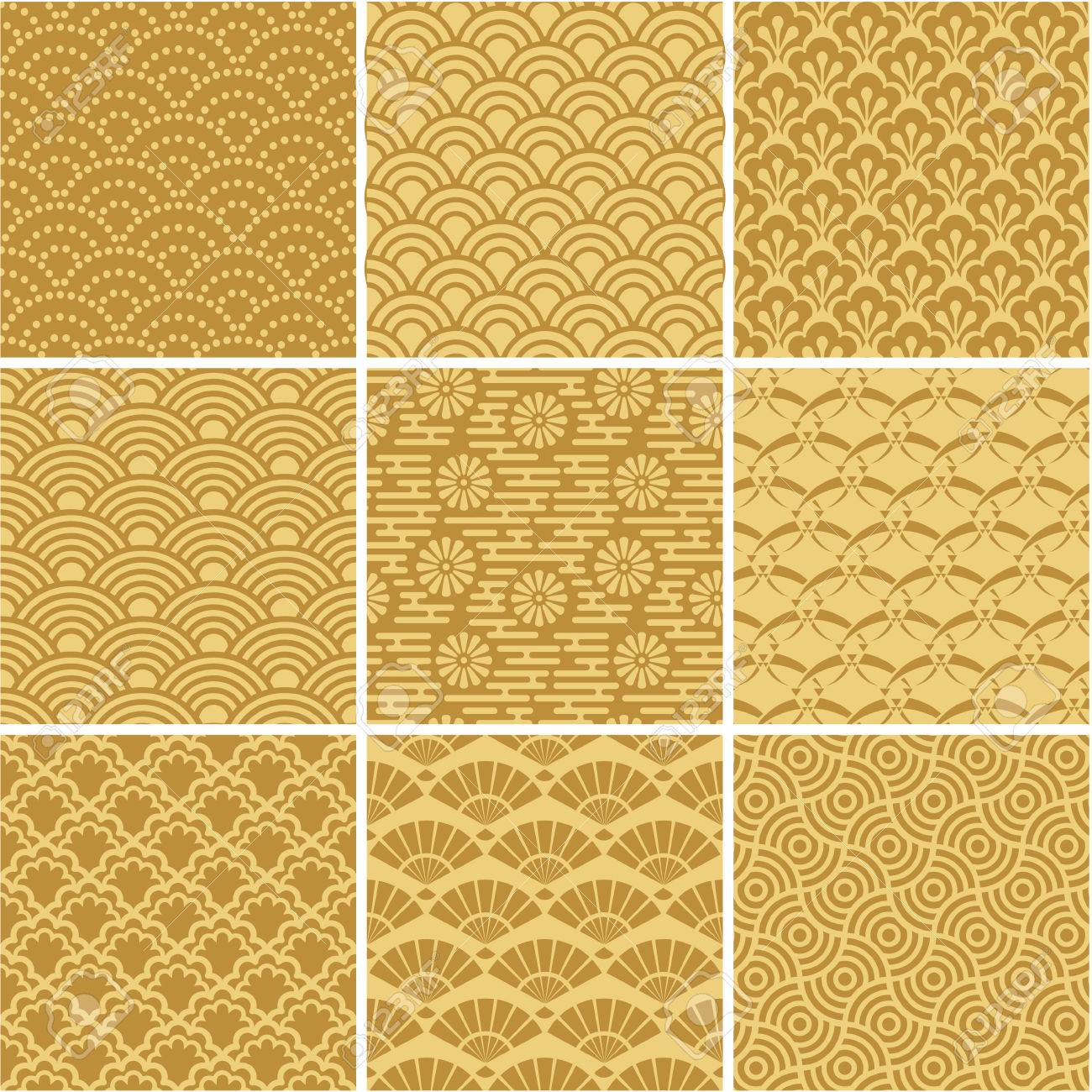 Gold seamless wave patterns for web background, surface - 36623789
