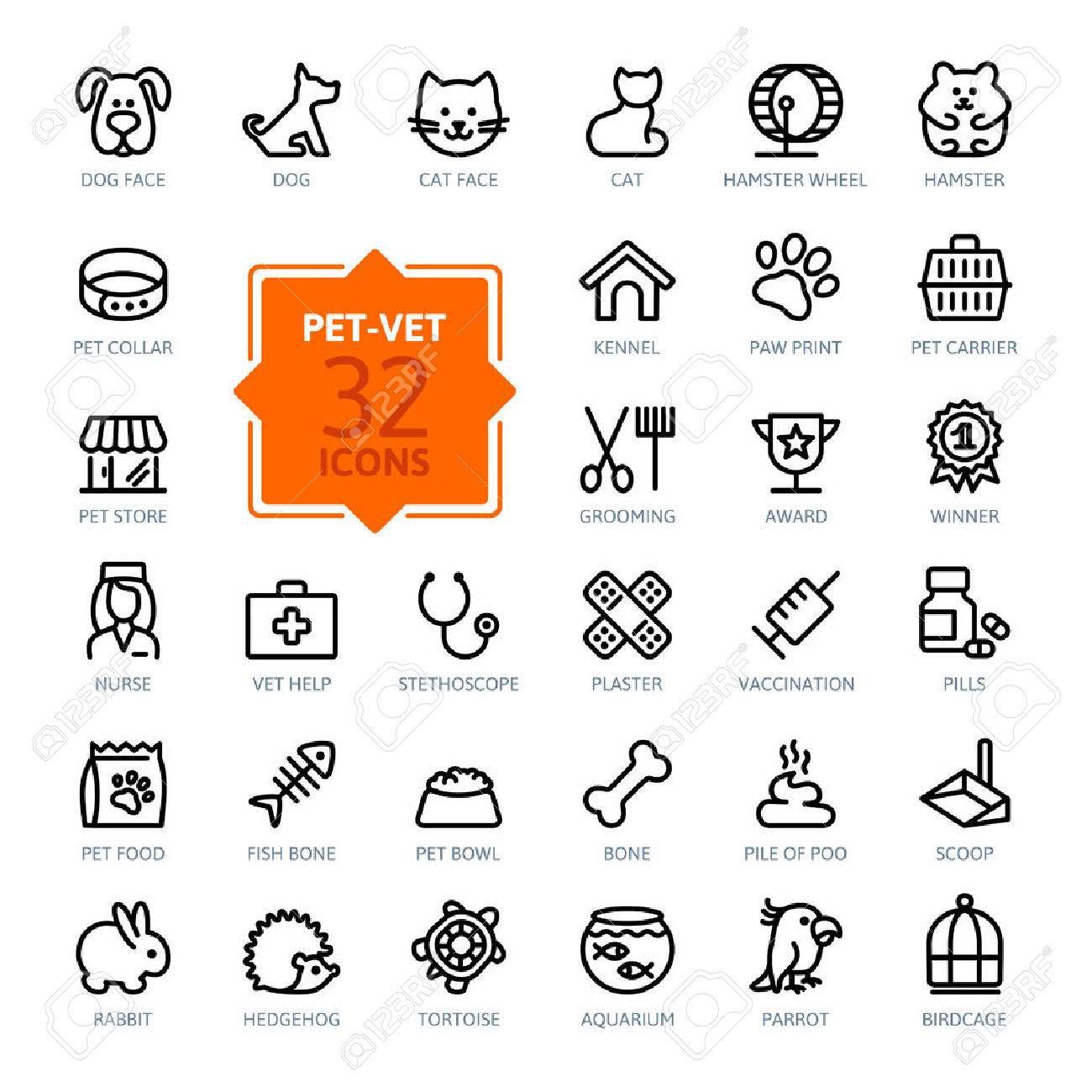 Outline web icon set - pet, vet, pet shop, types of pets - 37753660