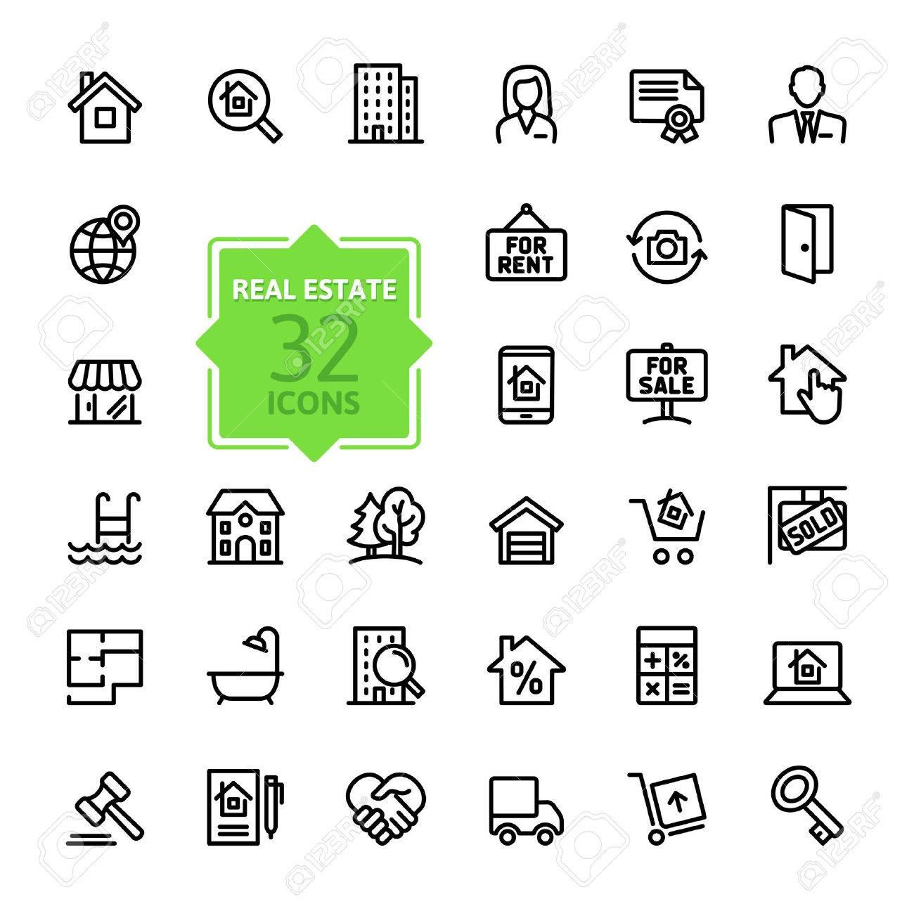 Outline web icons set - Real Estate, property - 37753667
