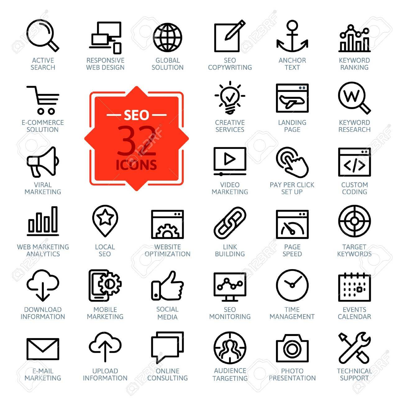 Outline web icons set - Search Engine Optimization - 37753668