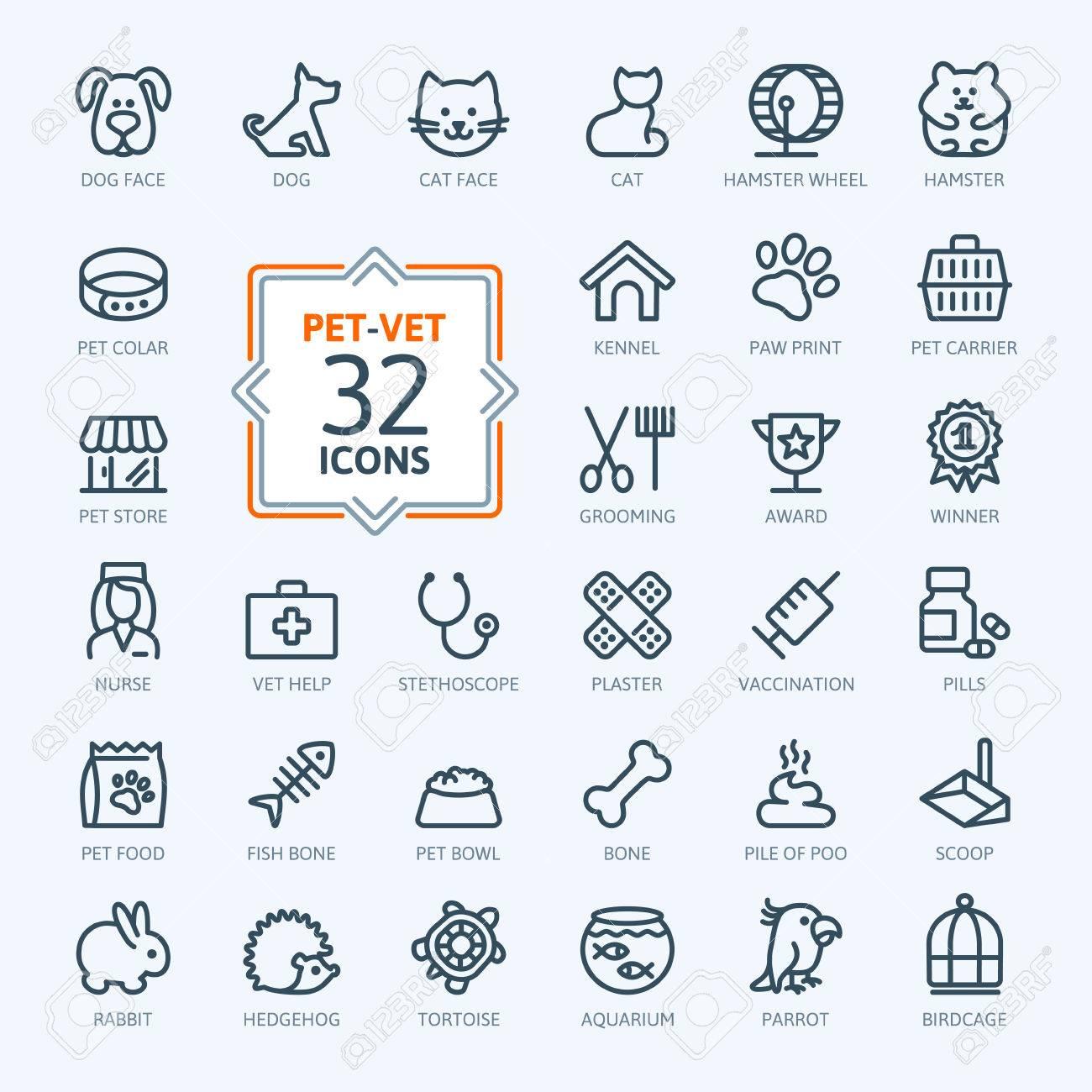 Outline web icon set - pet, vet, pet shop, types of pets - 37753672