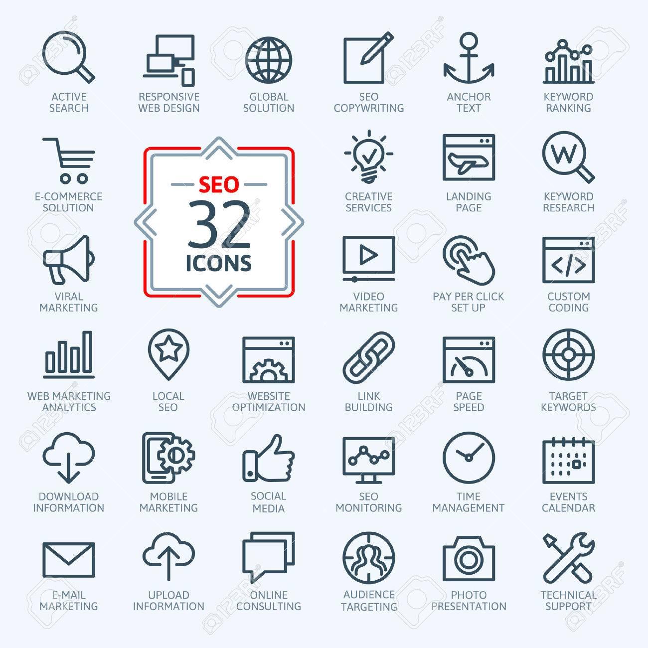 Outline web icons set - Search Engine Optimization - 37753675