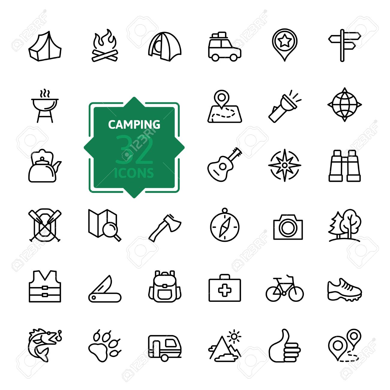 Outline web icon set - summer camping, outdoor, travel. - 39328056