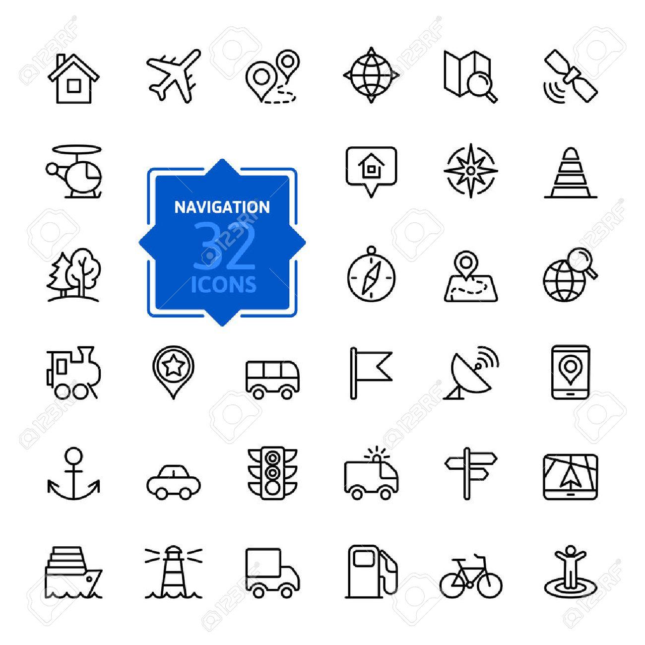 Outline web icons set - navigation, location, transportation - 39328581