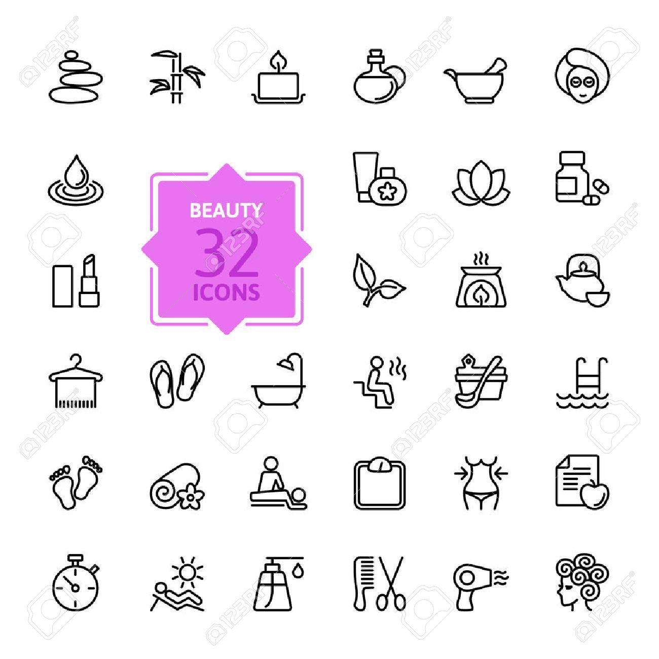 Outline web icon set - Spa & Beauty Stock Vector - 39328590