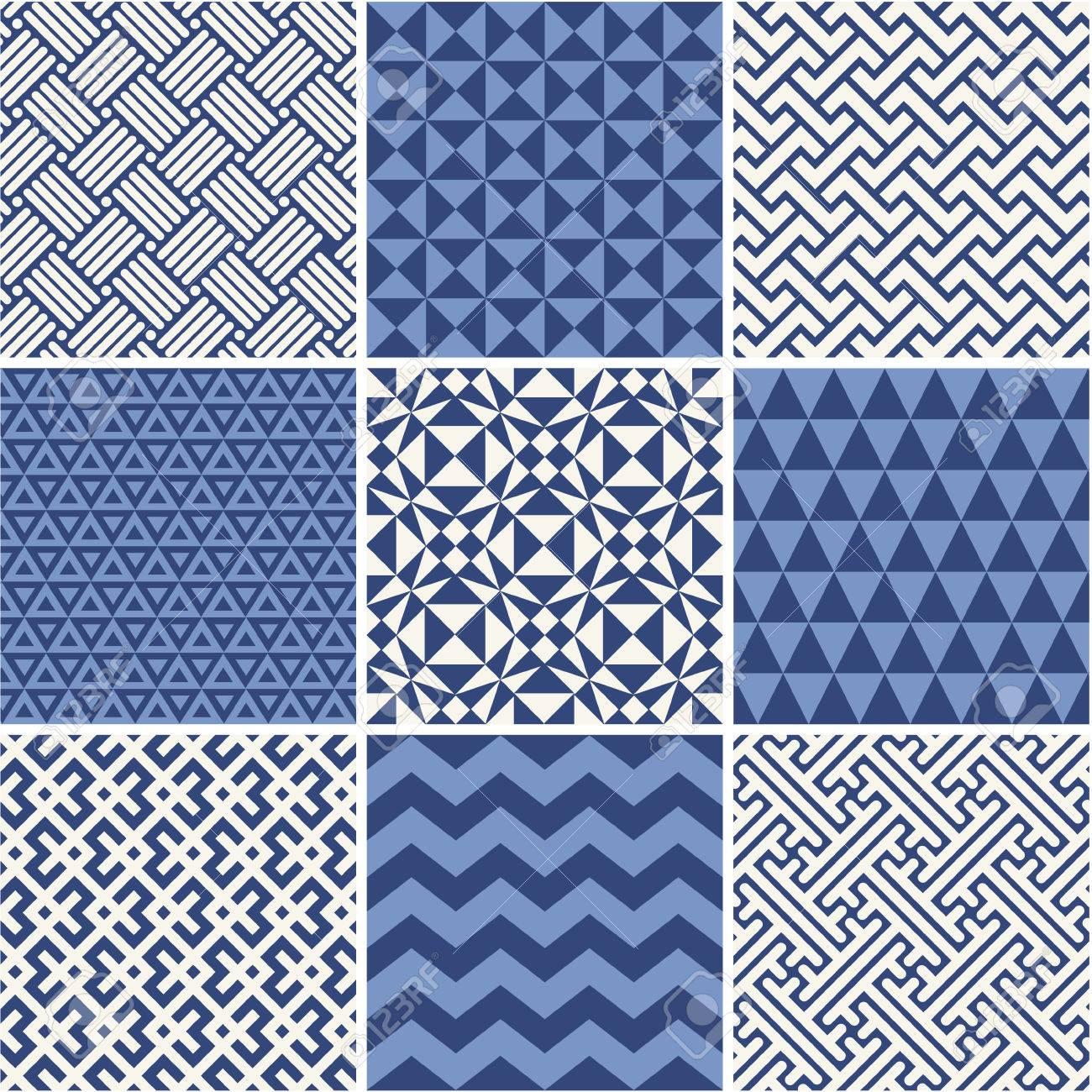 Set of monochrome geometric ornaments - white and blue. - 39328589