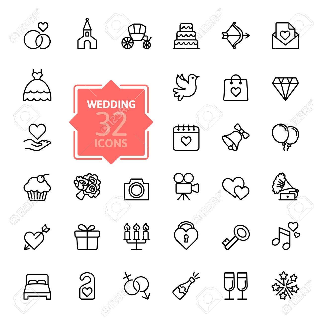 Outline web icon set wedding Stock Vector - 39592913