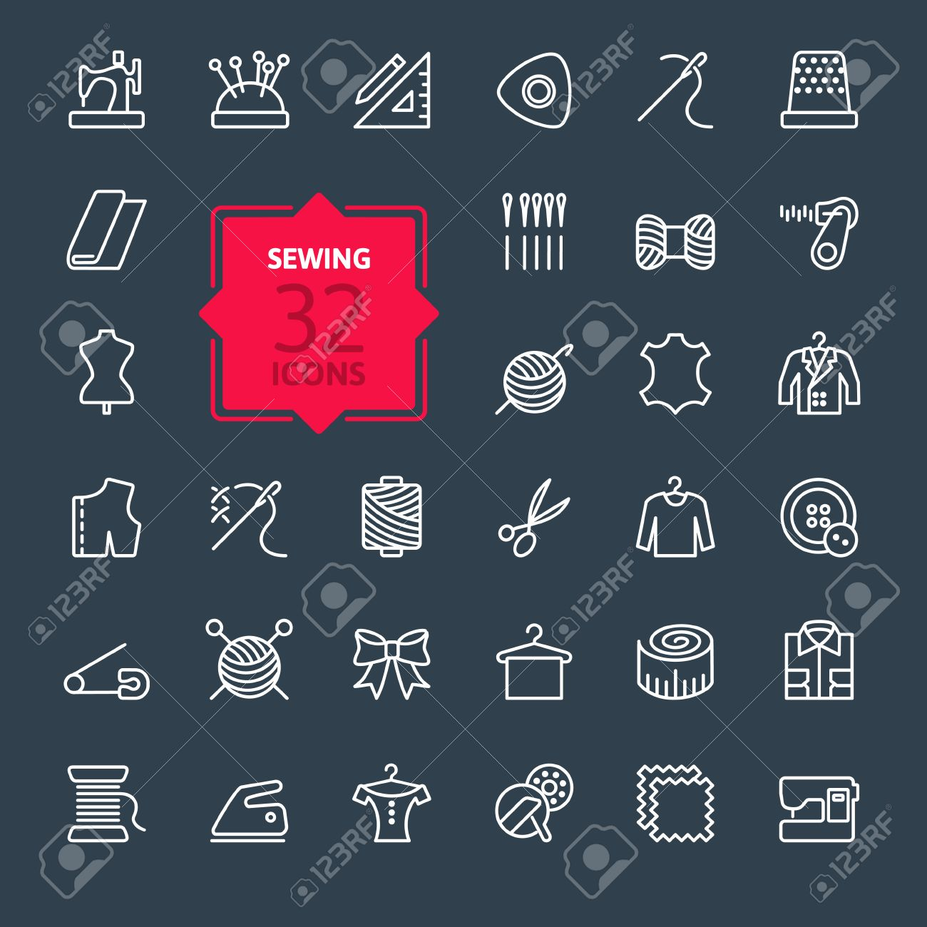 Thin lines web icon set sewing equipment and needlework - 41709289