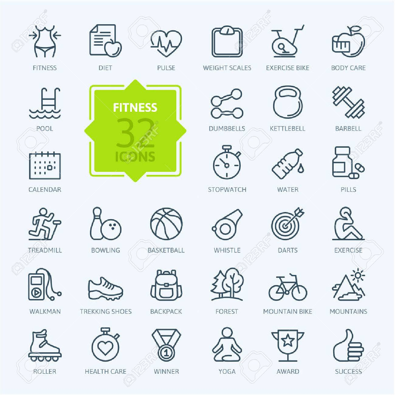 Outline web icon set sport and fitness Stock Vector - 41709333