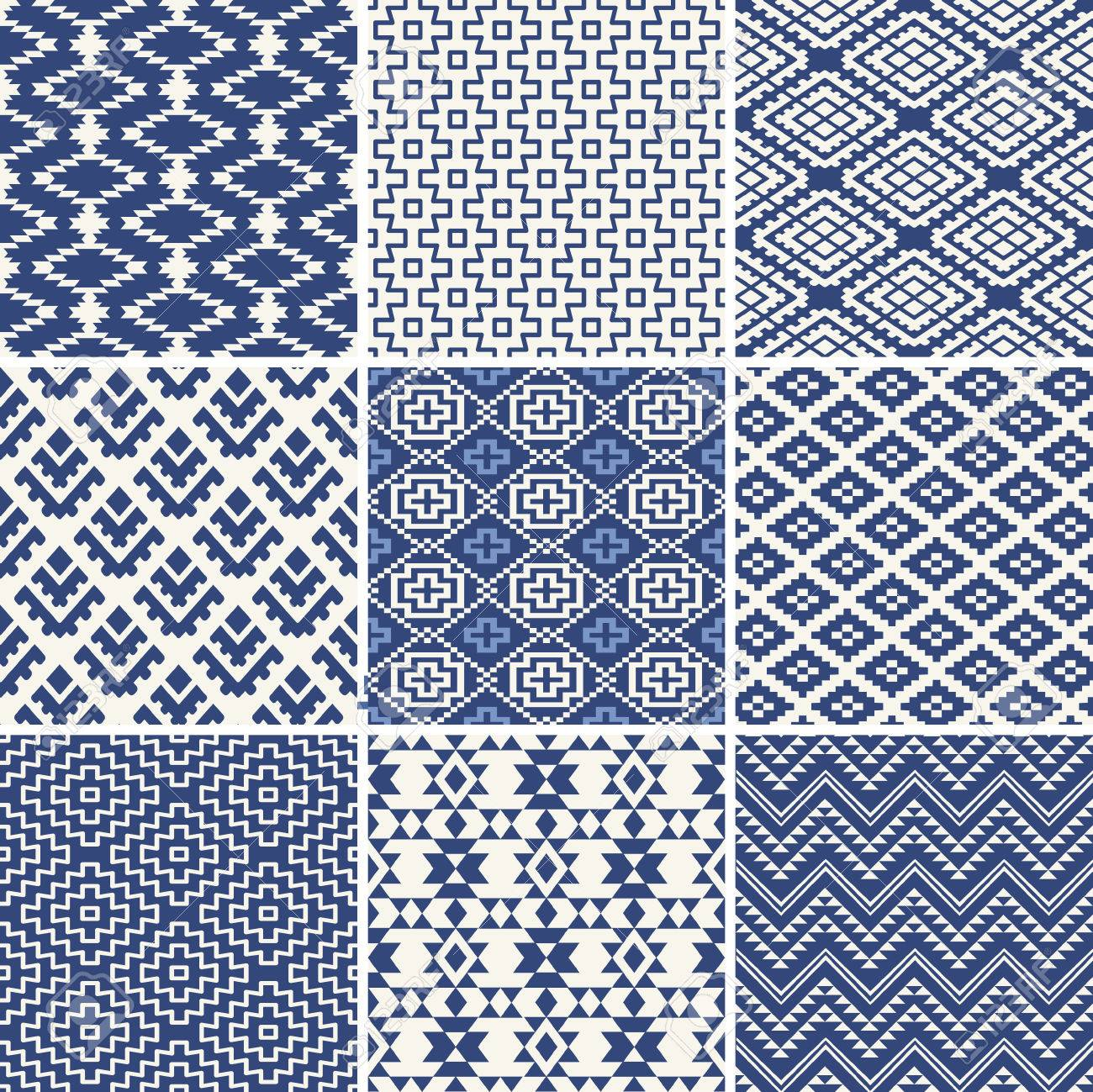 Geometric seamless ethnic background collection in blue and white - 41785749