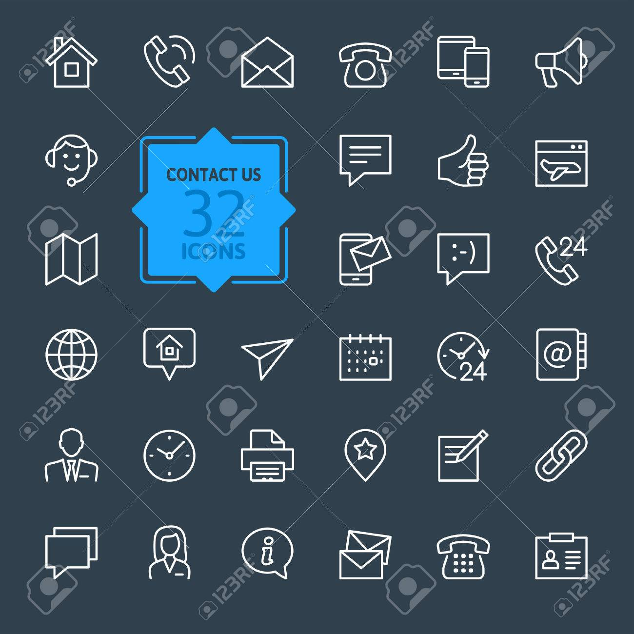 Outline web icons set Contact us - 41785761
