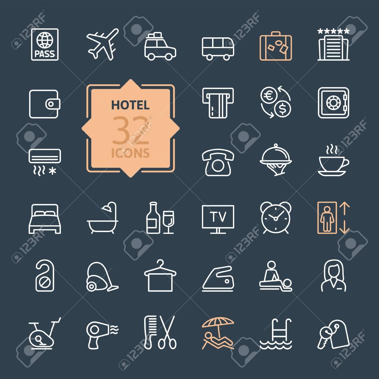 Outline web icon set Hotel services - 41785805