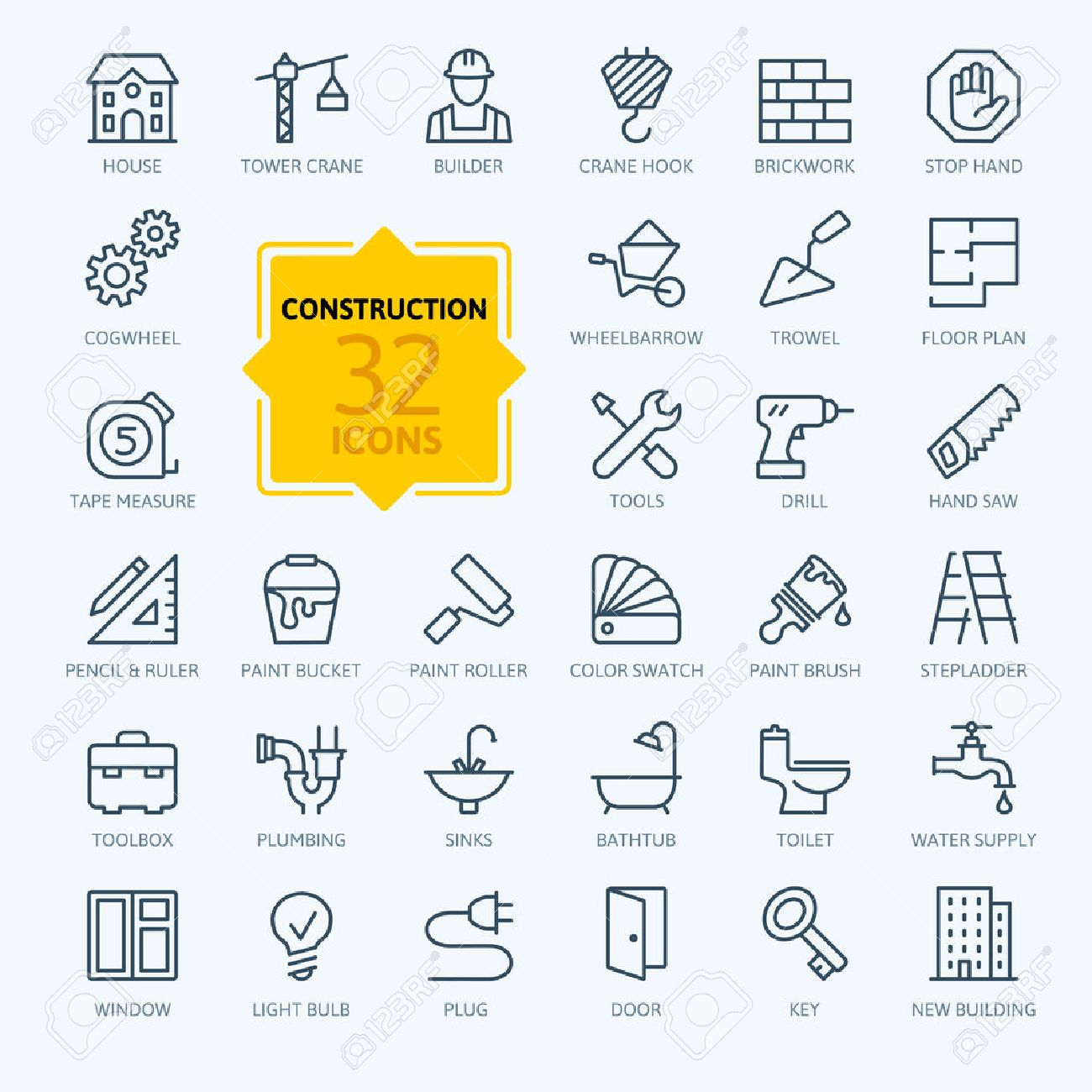 Outline web icons set - construction, home repair tools - 44710581