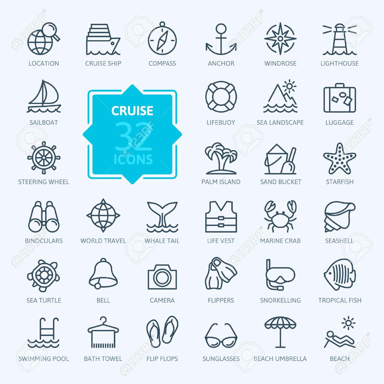 Outline web icon set - journey, vacation, cruise - 44710585