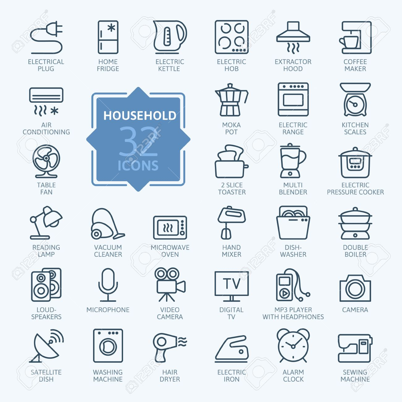 Outline icon collection - household appliances - 44710592