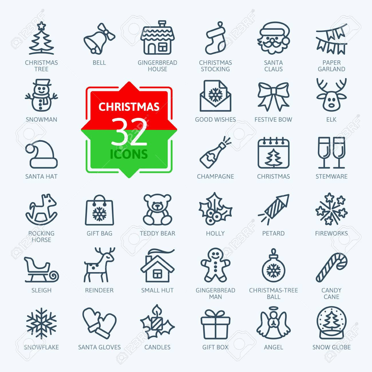 Outline icon collection - Christmas set - 52871081