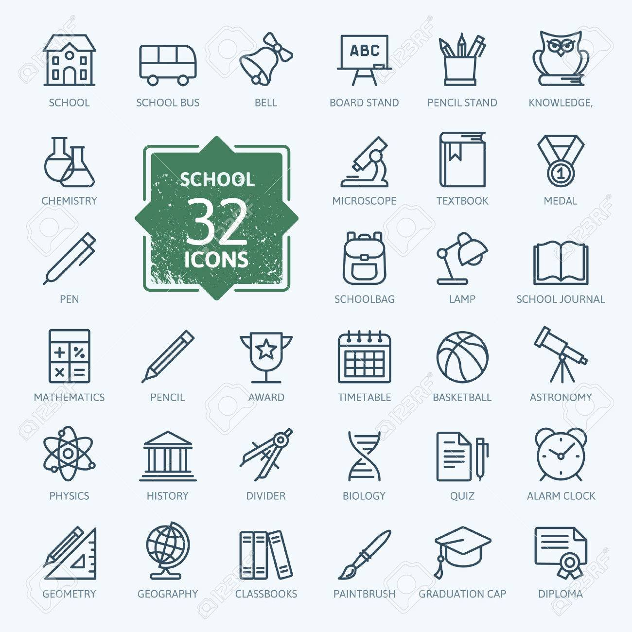 Outline icon collection - School education Stock Vector - 52871106