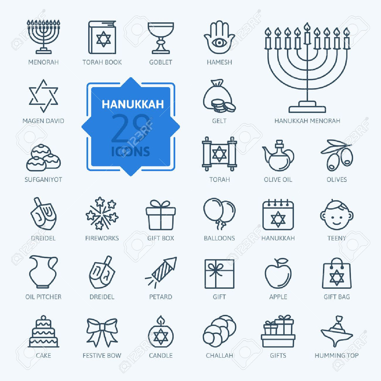 Outline Icon Collection Symbols Of Hanukkah Royalty Free Cliparts