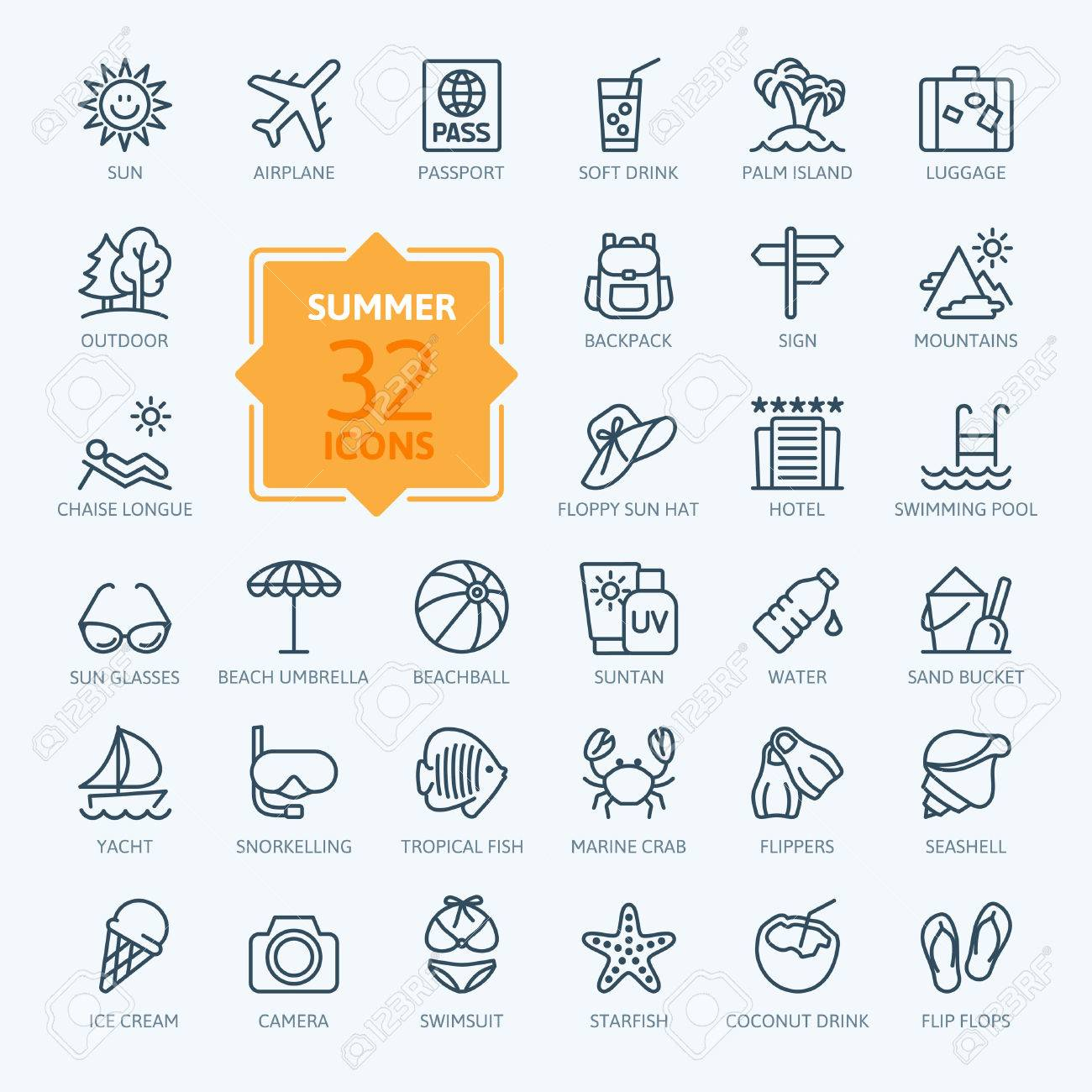 Outline web icon set - summer, vacation, beach - 59925325