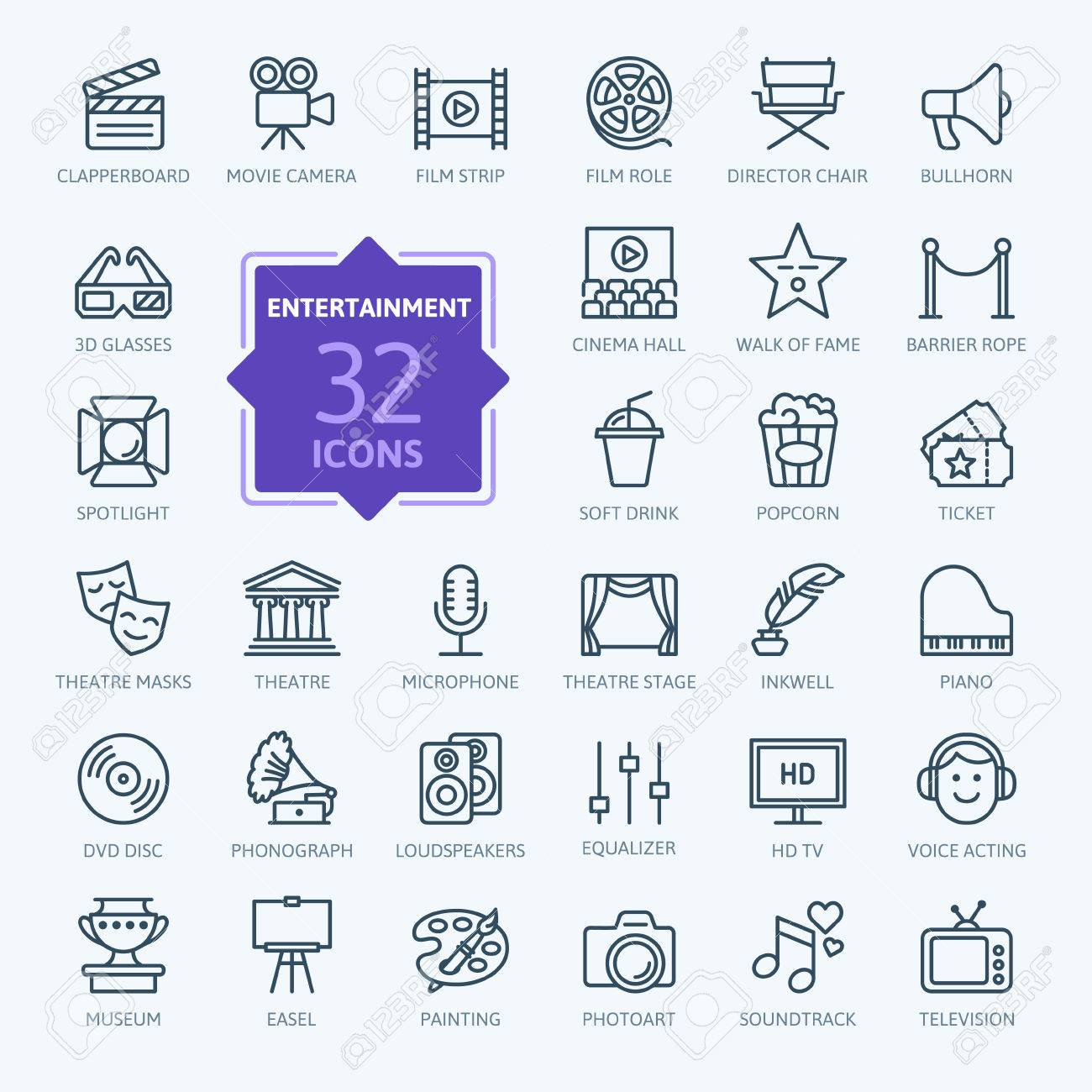 Entertainment icon set - outline icon collection, vector - 70793827