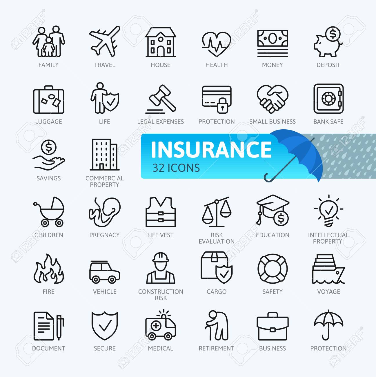 Insurance elements - minimal thin line web icon set. Outline icons collection. Simple vector illustration. - 94196966