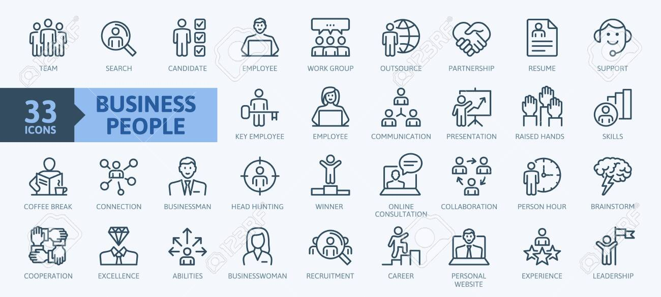 Business people, human resources, office management - thin line web icon set. Outline icons collection. Simple vector illustration. - 138516555