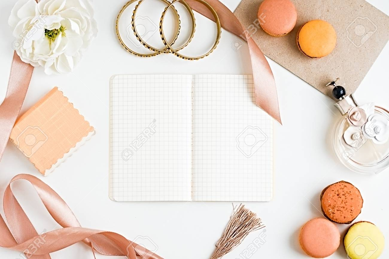Blank Notebook For Ideas Macoroons Accesories Perfume Bottle