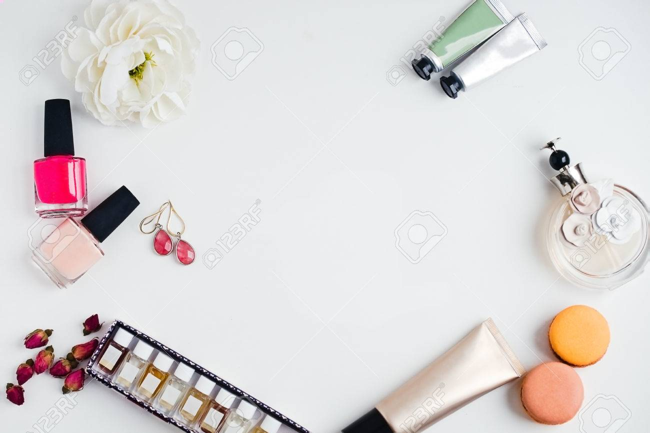 Flat Lay Of Woman\'s Glamour Makeup And Beauty Products On A White ...