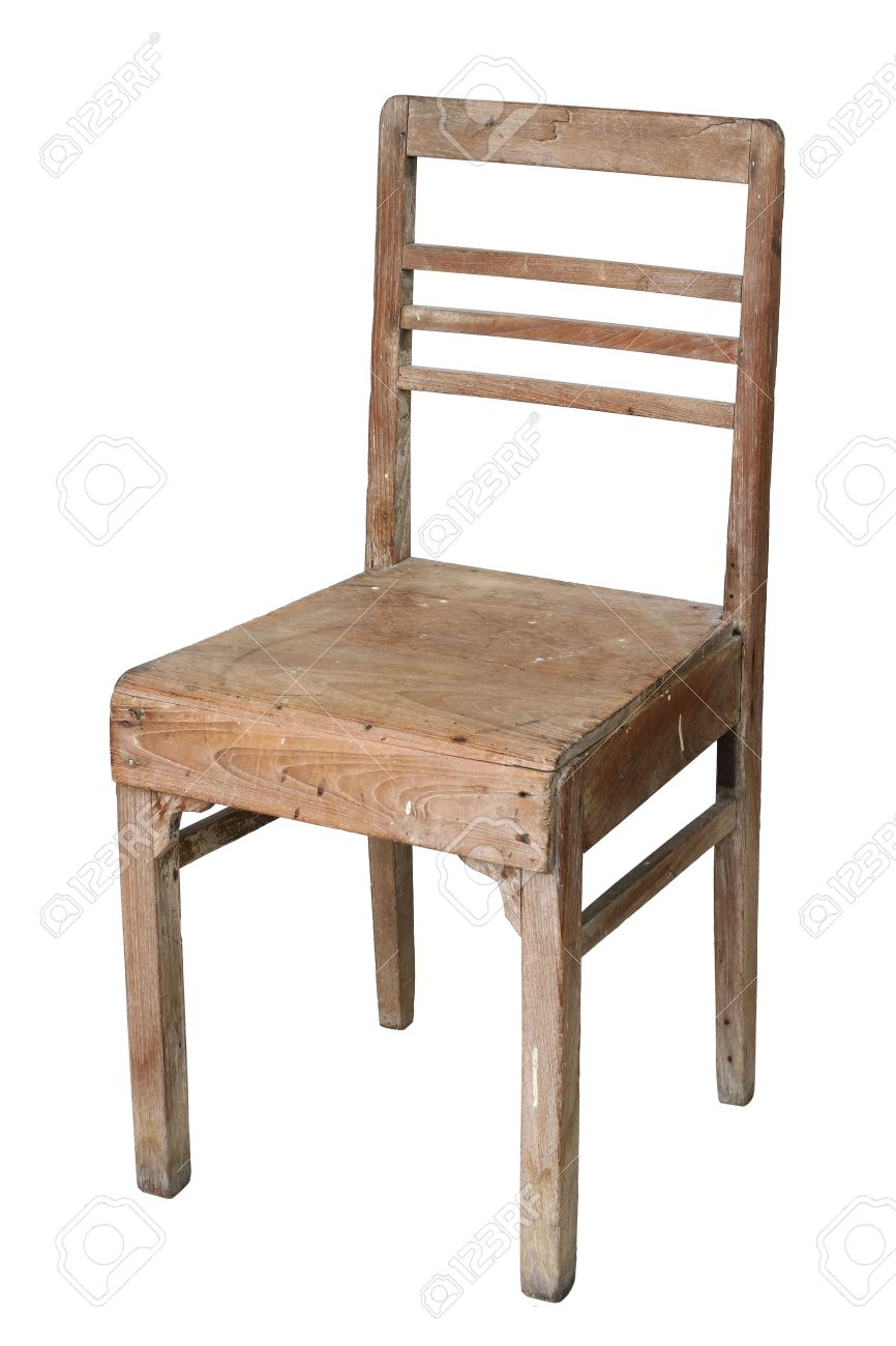 Old Teak Chair On White Background Stock Photo   10671169