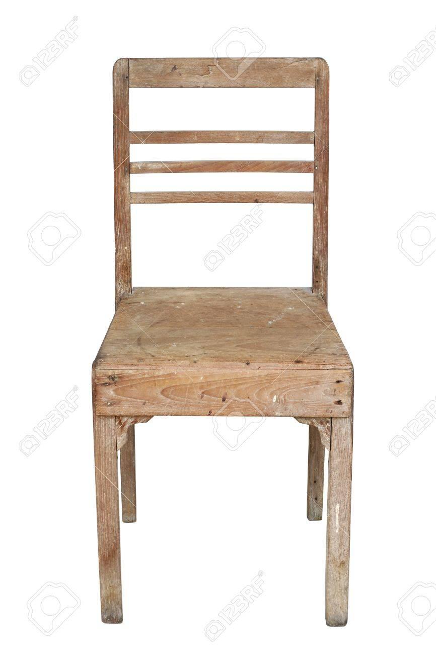 Old Teak Chair On White Background Stock Photo   10671167