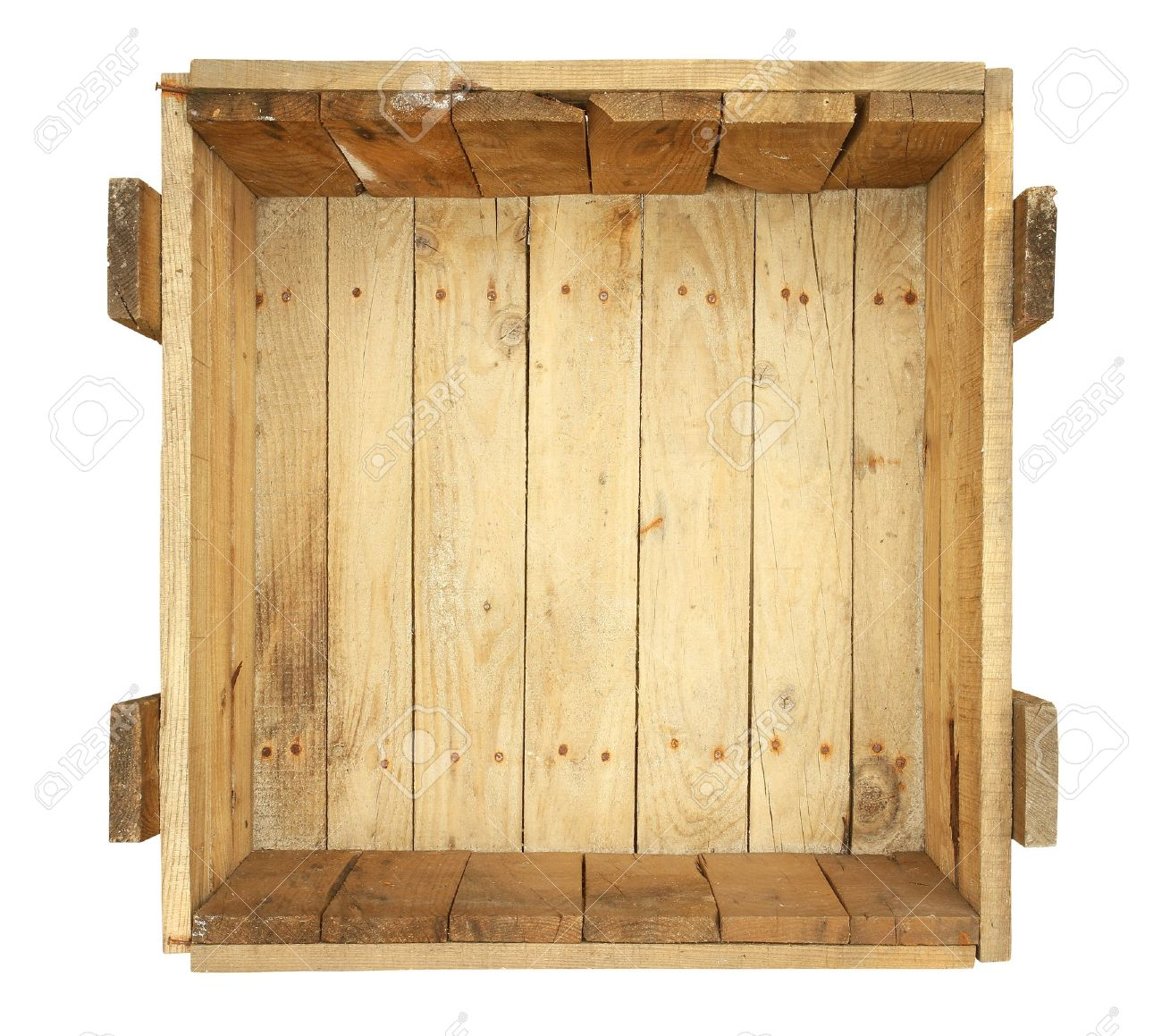 Top view of old wooden box isolated on white background Stock Photo - 13429930