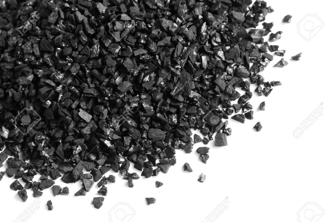 Granular Activated Carbon For Water Filter On White Background ...