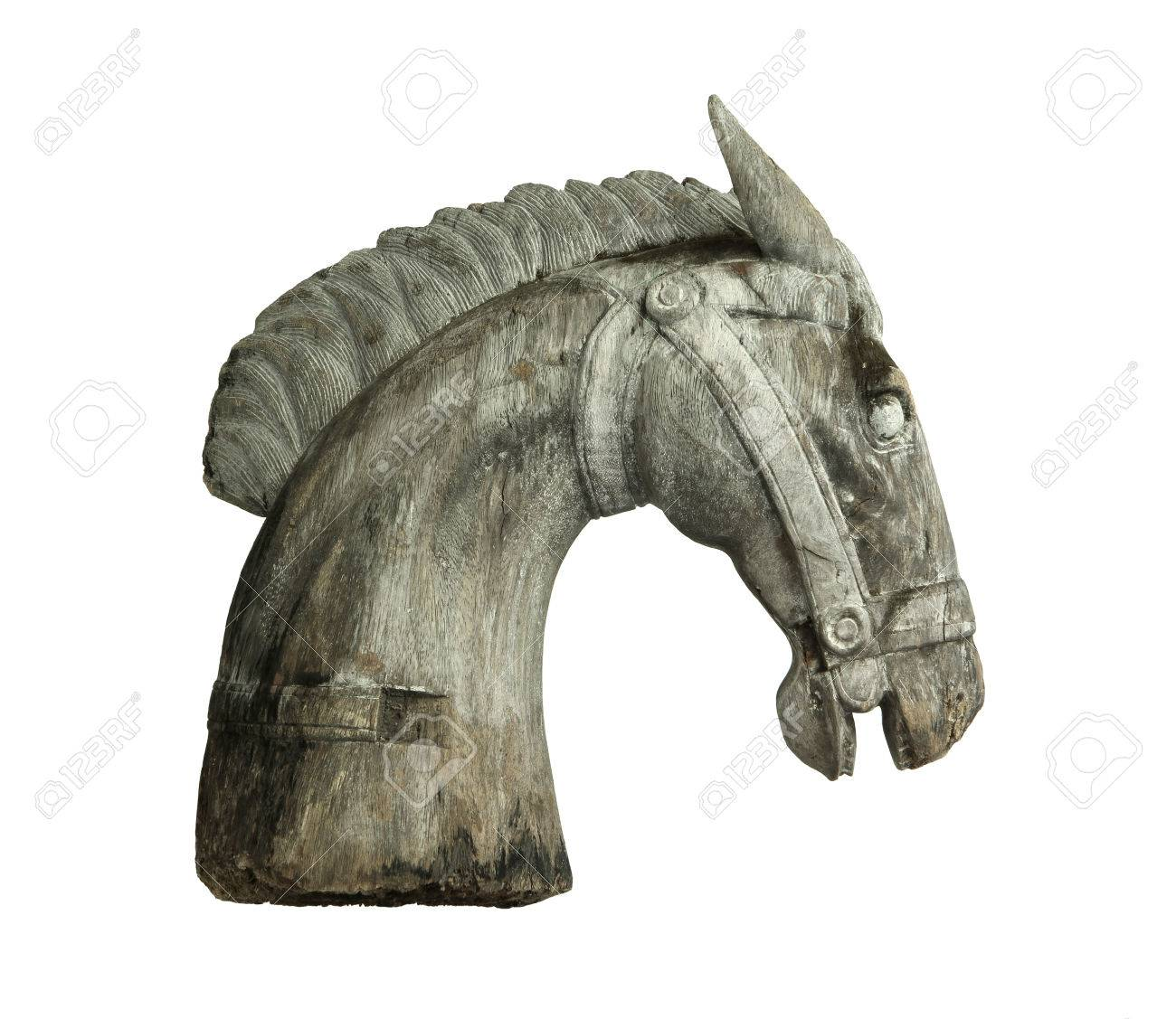 Wooden Horse Head Isolated On White Background Stock Photo Picture And Royalty Free Image Image 62434897