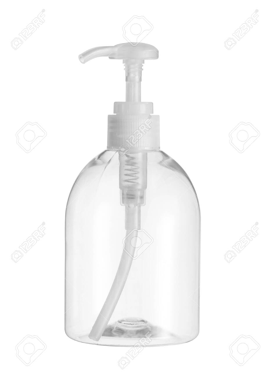 Plastic pump bottle (with clipping path) isolated on white background - 124067467