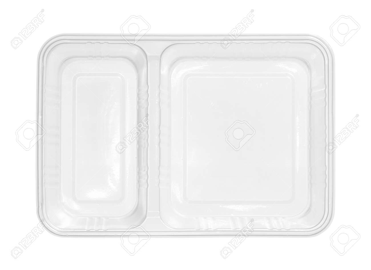 Plastic food box two compartment separated top view isolated on white background - 157297123