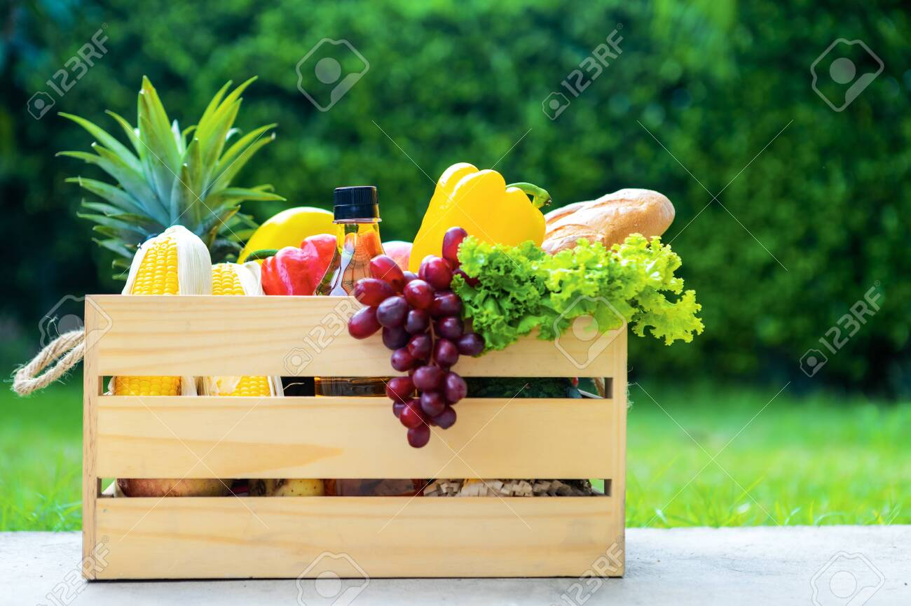 Wooden basket with vegetables. fresh vegetables in a basket. picnic in the garden. Stay at home. Enjoy cooking at home. Family concept. - 149144192