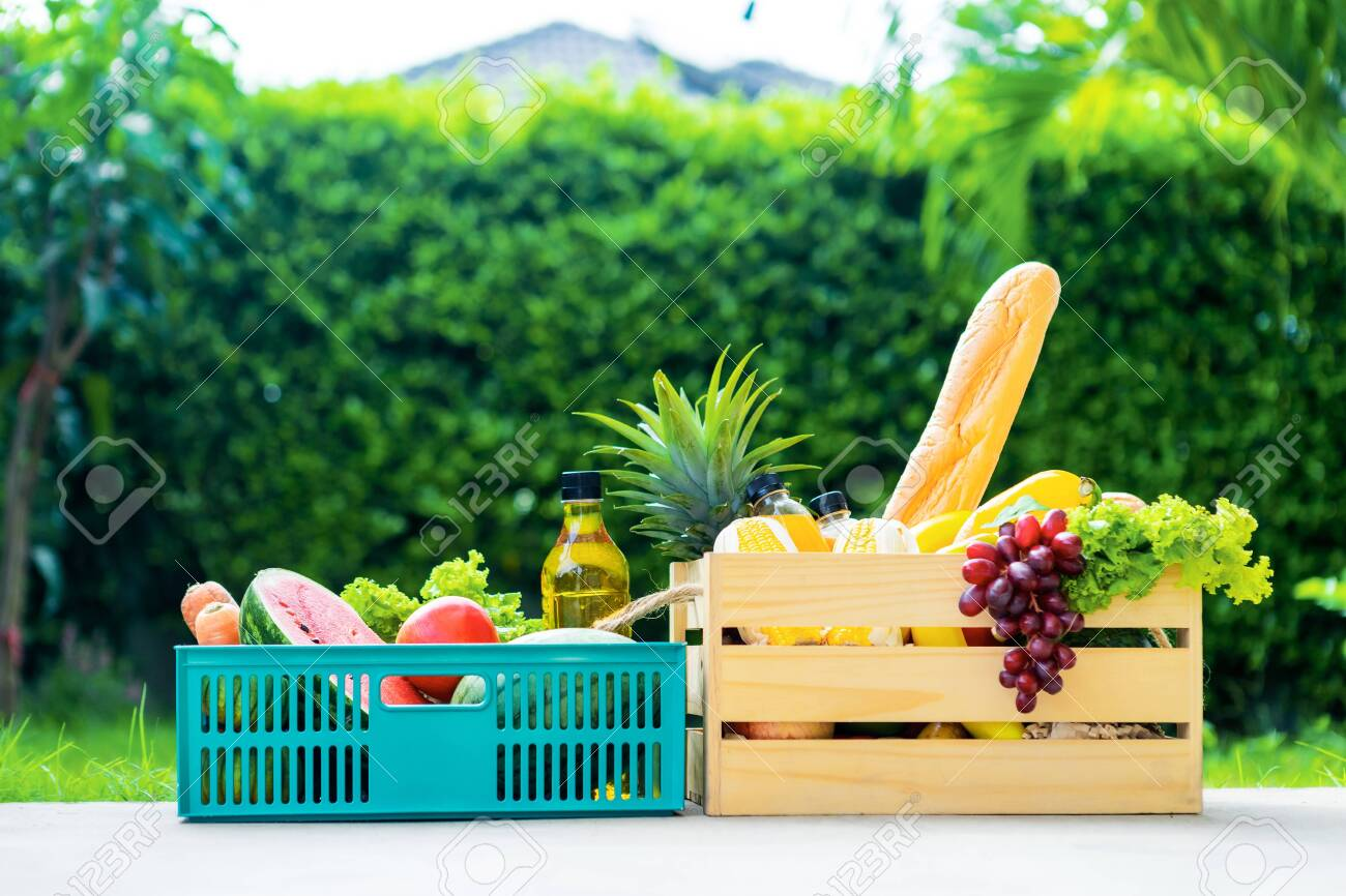 Wooden basket with vegetables. fresh vegetables in a basket. picnic in the garden. Stay at home. Enjoy cooking at home. Family concept. - 149143731