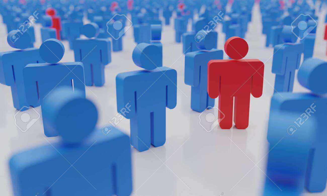 Social distance concept. Too many people with infected man in red symbolizing a contagious epidemic of Covid-19, 3d rendering - 151862879