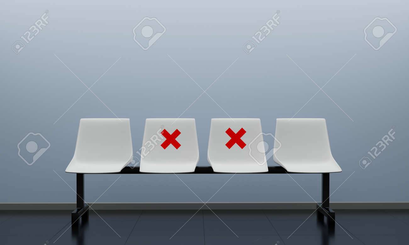 The chairs make separate for social distancing by red cross, increasing physical space between people to avoid spreading illness during outbreak of COVID-19. 3D rendering - 151862881