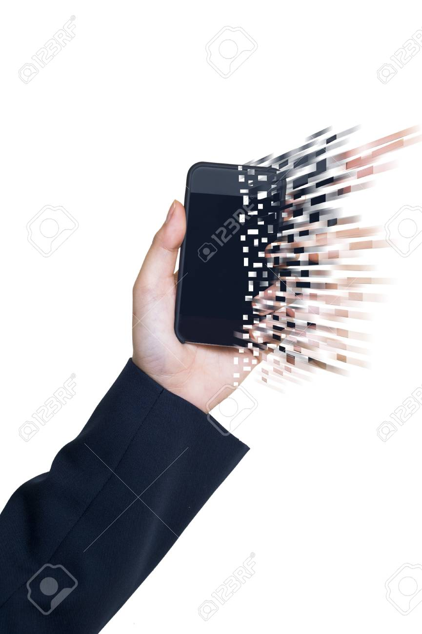 Smartphone with hand on white background Stock Photo - 14343156