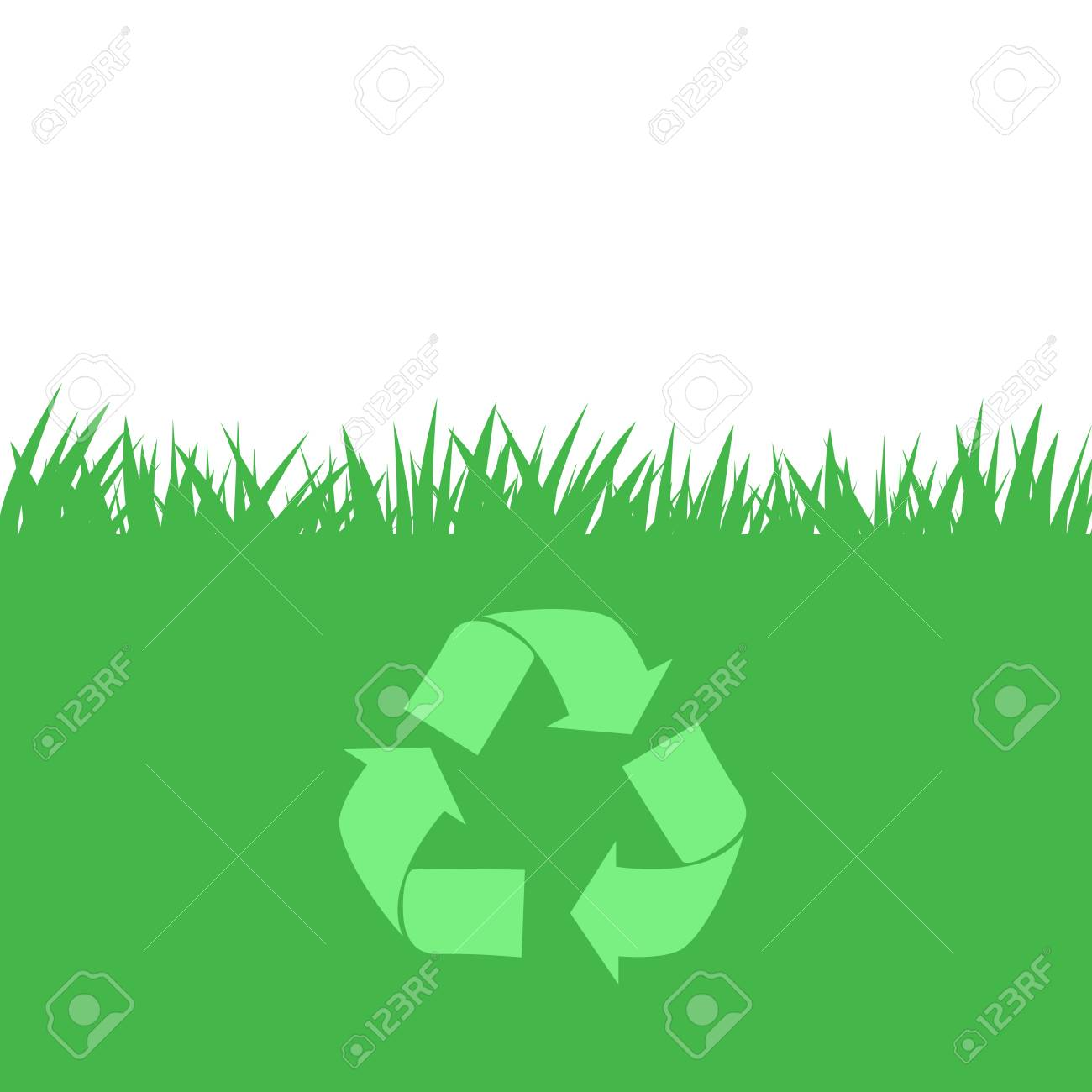 Recycle On Green Grass Texture Background