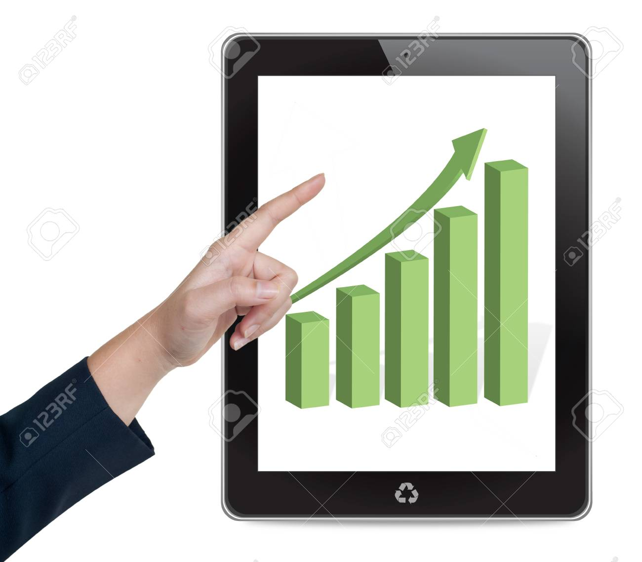 Hand pushing tablet on a touch screen interface Stock Photo - 14569191
