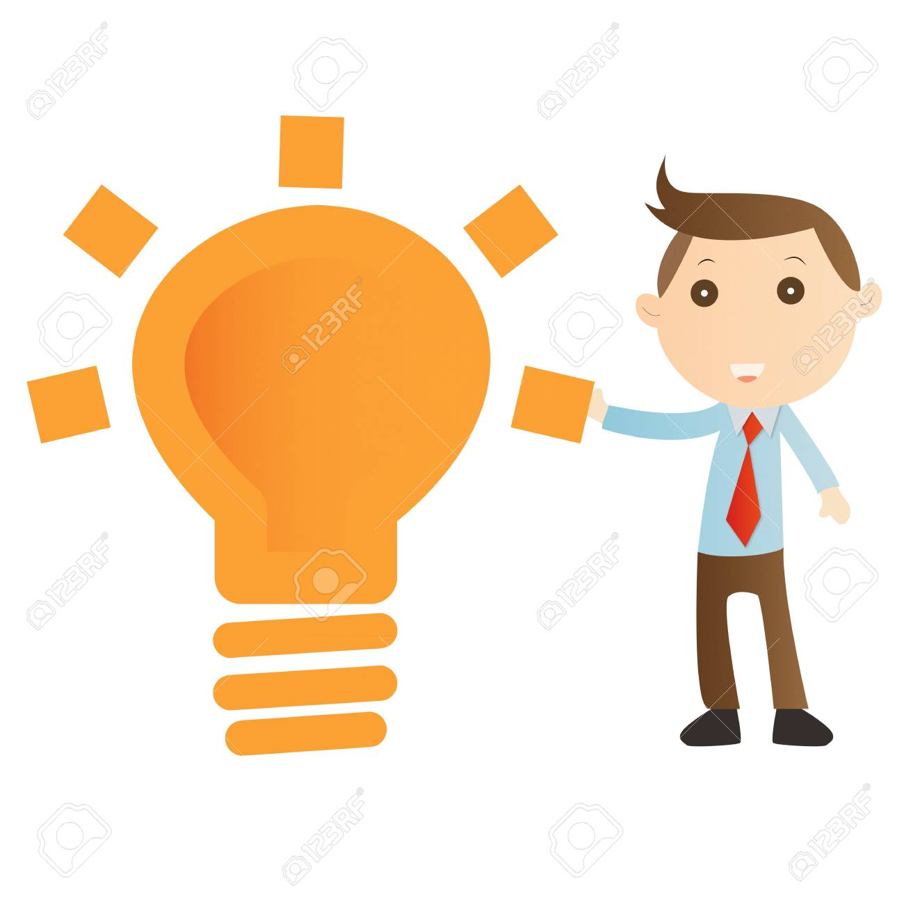 Businessman with bulb light on white background Stock Photo - 14643446