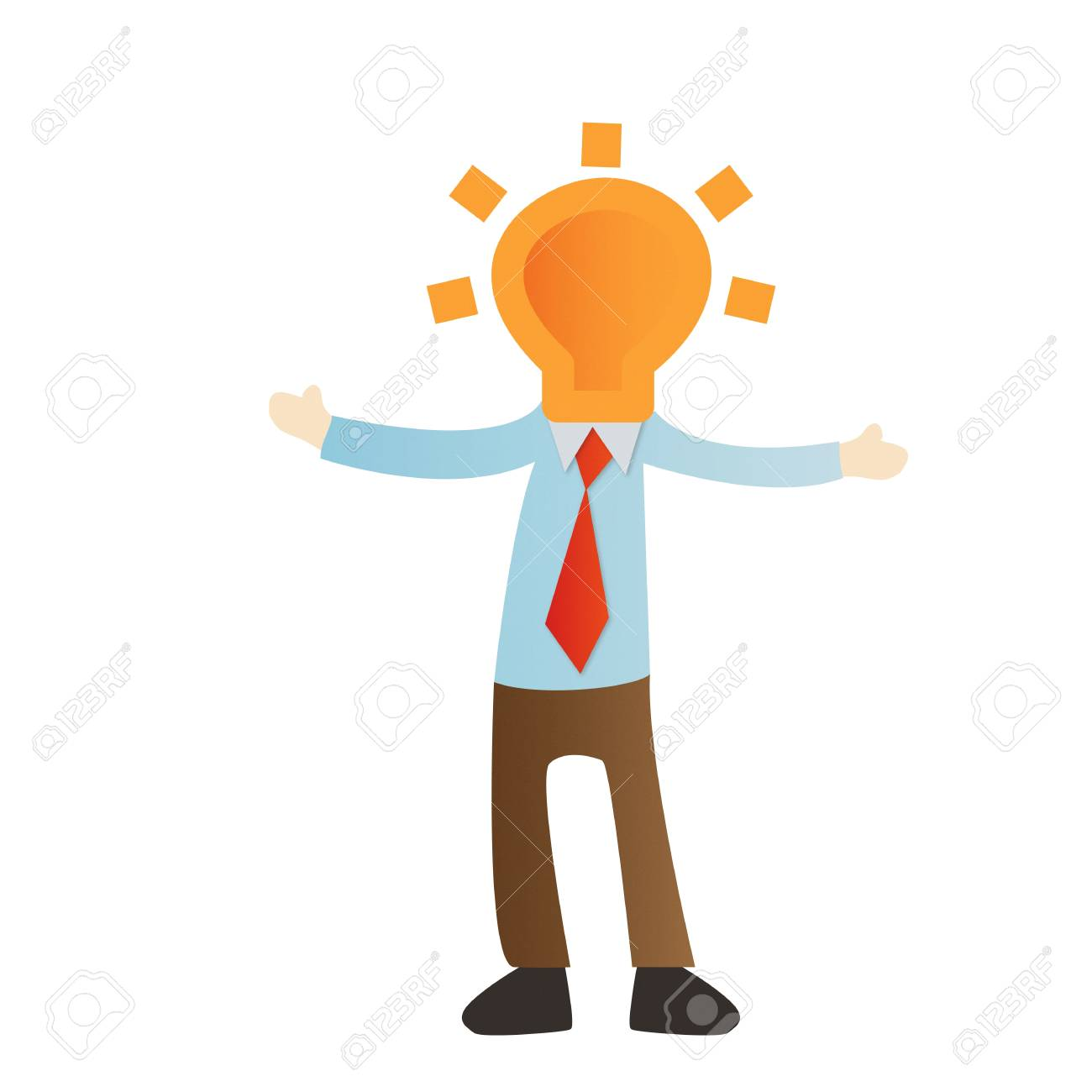 Businessman with bulb light on white background Stock Photo - 14643435