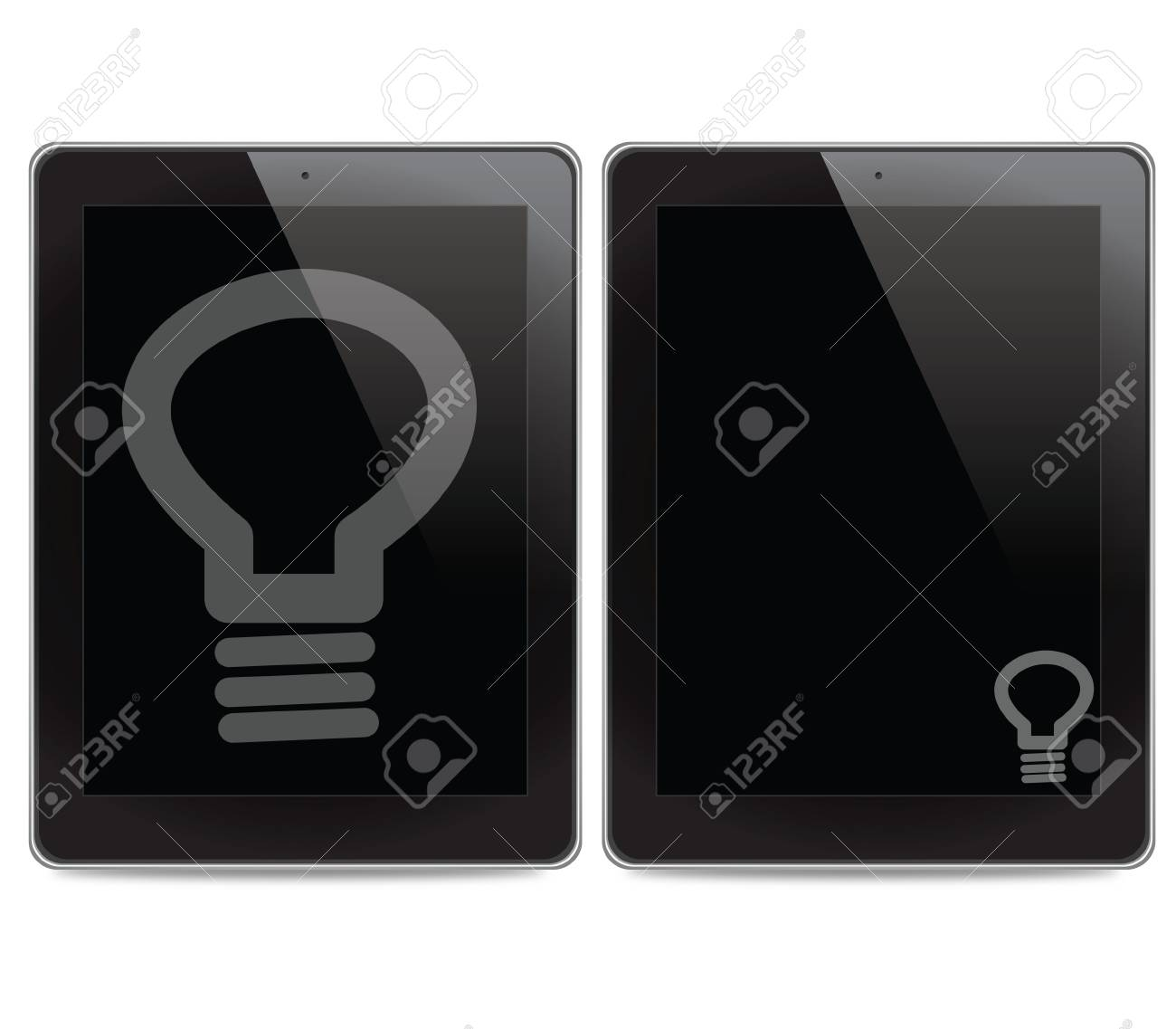Bulb light icon on tablet computer background Stock Photo - 14643404