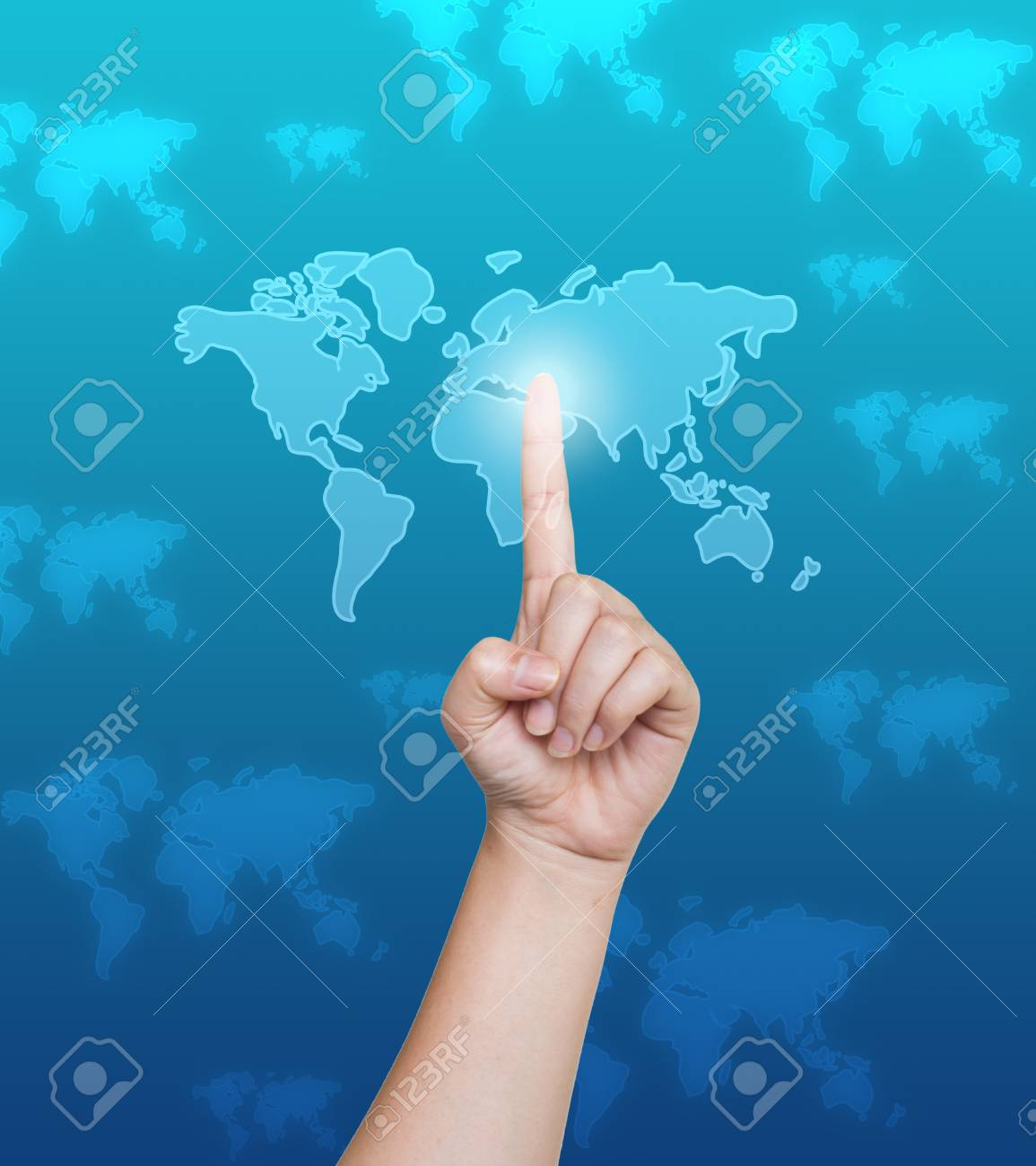 Hand pushing world map button on a touch screen interface Stock Photo - 15030021