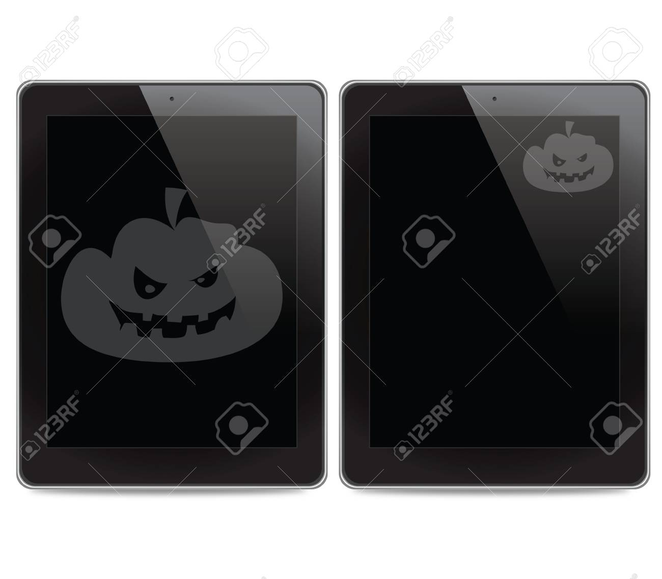 Pumpkin icon on tablet computer background Stock Photo - 15133101