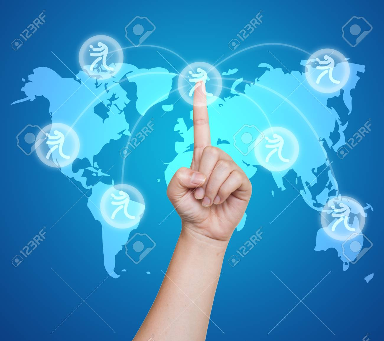 Hand pushing sport table tennis button on a touch screen interface Stock Photo - 16187545