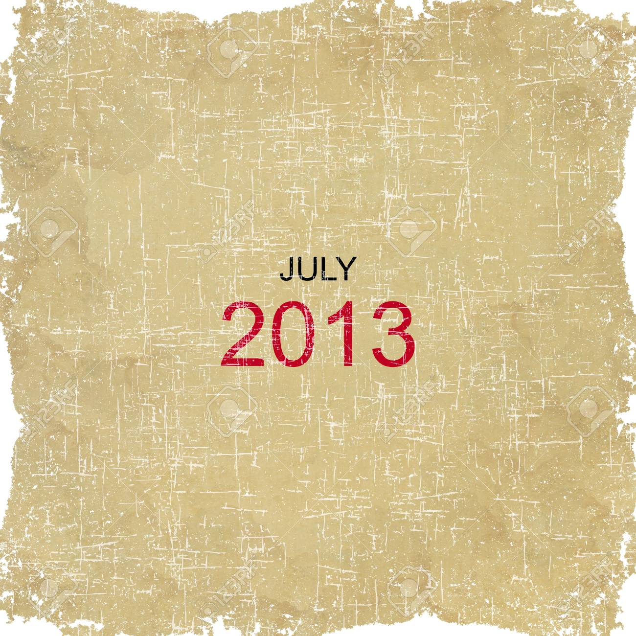 2013 Calendar Old Paper Design - July Stock Photo - 16766401