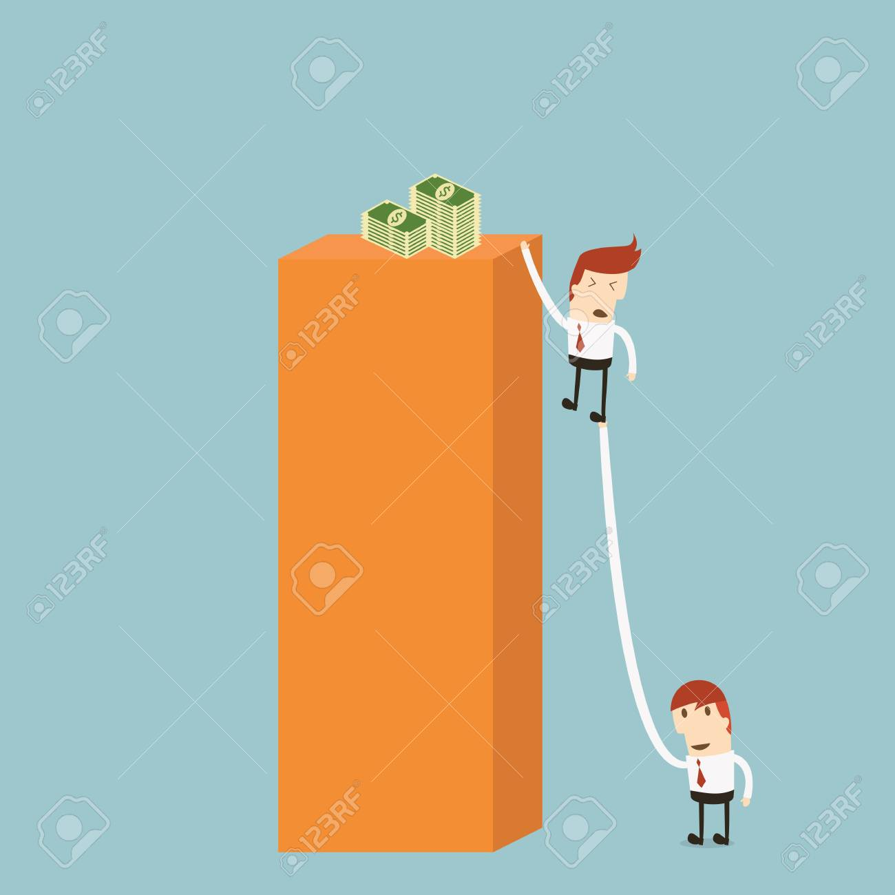 Businessman being pulled Stock Vector - 20958220